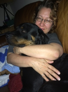 Nothing like a Rottweiler to comfort you when your feeling down.
